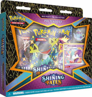 Pokémon, Shining Fates, Booster Pakker, Byttekort, TCG, Trading Cards, Bunnelby, Mad Party, Pin Collection, Dedenne, Galarian Mr. Rime, Plteageist
